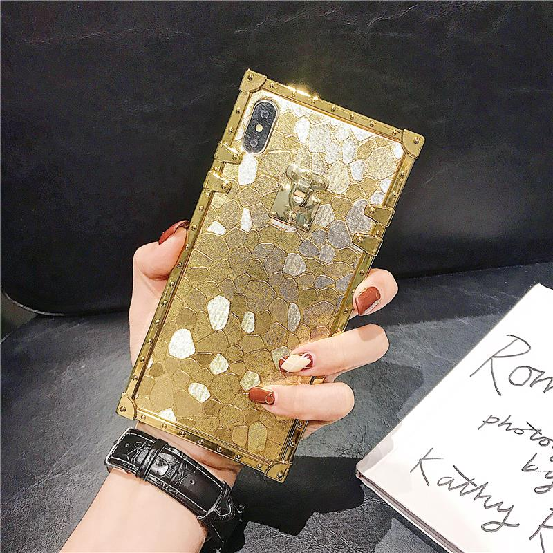 H7cf7ff9f0bb8476e8ba46e53b4cce769Q - Hot 3D Luxury Square Gold glitter case for iphone X XR XS MAX 6 S 7 8 soft cover for Samsung S10 Plus S9 S8 coque
