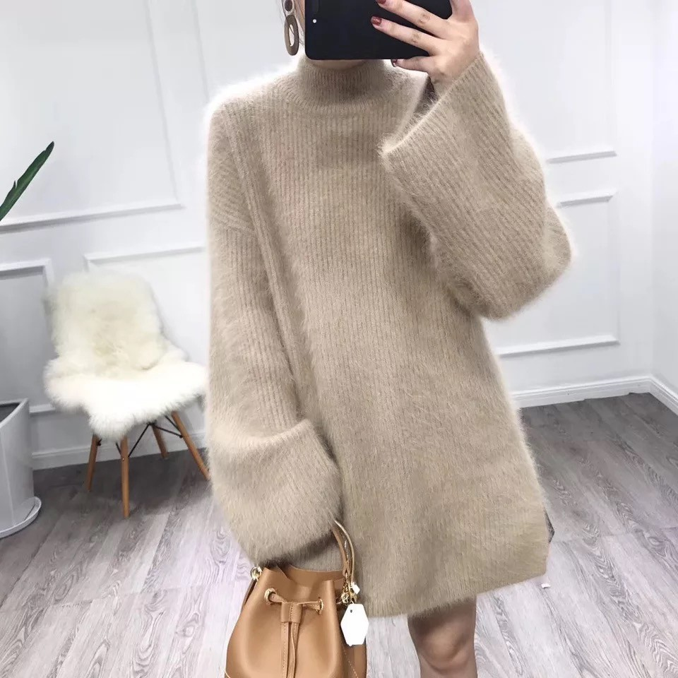 Turtleneck Oversized Mink Cashmere Sweater Women Knitted Winter Jumper Korean Harajuku Long Pullovers Casual Clothes Loose V574