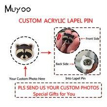 Nova moda personalizado personalizar acrílico lapela pino seus animais de estimação fotos pessoais personalizar artesanal acrílico epóxi emblema pinos omg