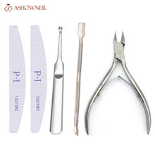 Nail Art Exfoliating Tools Cuticle Remover For nail File Cuticle Nipper Tool Spoon Pusher Cutter Trimmer Scissors Manicure Tool