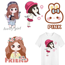 Iron on Transfer Lovely Girl Patches for Kids Clothing DIY T-shirt Dresses Applique Heat Transfer Vinyl Letter Patch Stickers iron on heart mouse patches for kids girl clothing diy t shirt dresses applique heat transfer vinyl thermo letter patch stickers