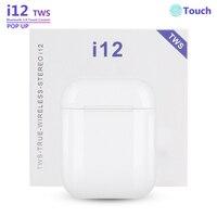 I12 TWS 무선 이어폰 미니 블루투스 헤드셋 터치 스포츠 이어폰 블루투스 5.0 아이폰 안드로이드에 대한 마이크와 스테레오 이어 버드|블루투스 이어폰 & 헤드폰|   -