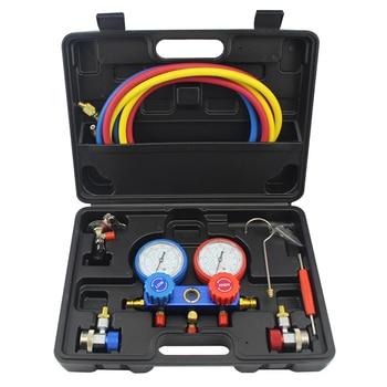 цена на Refrigeration Air Conditioning Manifold Gauge Maintenence Tools freon adding gauge forR12,R22, R404A, R134A  Car Set