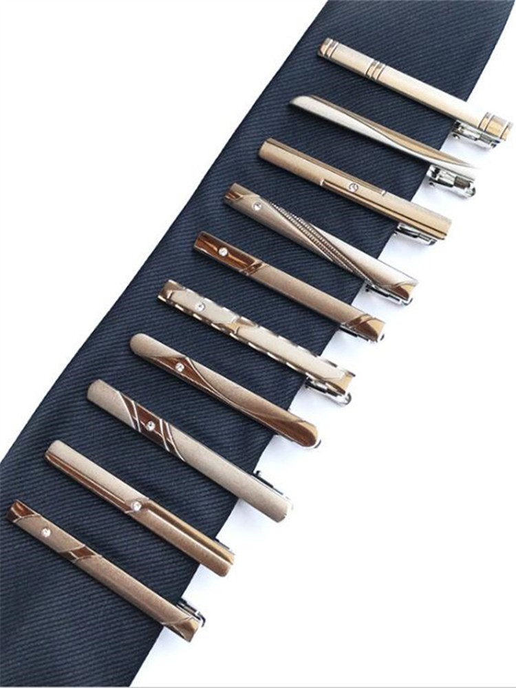 New 5 Pieces Men's Dress Silver Tie Clips Exquisite Fashion Simple Business Tie Clip 10 Styles To Choose From