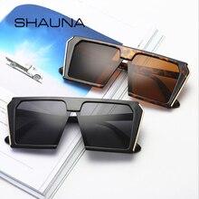 SHAUNA Flat Top Oversize Square Sunglasses Women Retro Purple Blue Pink Sun Glas