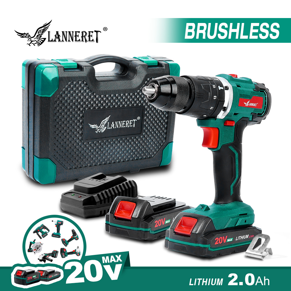Brushless Cordless Drill 20V Lithium Electric Drill Battery DIY Power Driver Variable Speed Electric Screwdriver