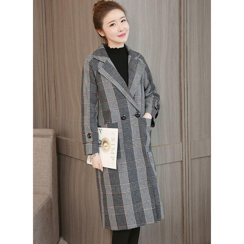 Plaid Woolen Coat Women 2019 New Basic Plus Size 5XL Slim Jacket Autumn Winter Thickening Warm Windbreaker Outerwear Parkas A990