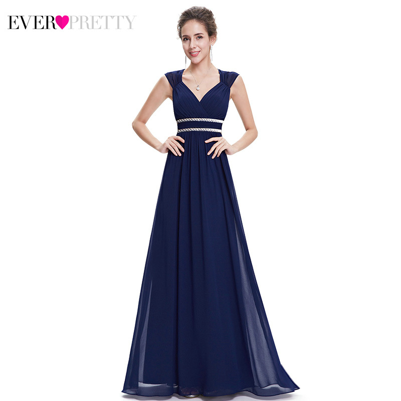 Elegant Evening Dresses Long Ever Pretty V-Neck A-Line Sleeveless Ruched Ruffles Formal Evening Party Gowns Robe De Soiree 2020
