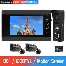 Videoportero con cable, cámara gran angular de 130 ° con cámara CCTV, compatible con detección de movimiento, timbre de puerta de 7 pulgadas
