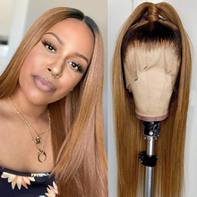 "Ombre Blonde Deep Part Lace Front Human Hair Wigs 150% Brazilian Remy Hair Straight Wig Pre Plucked 6"" Inches Middle Part Wigs"