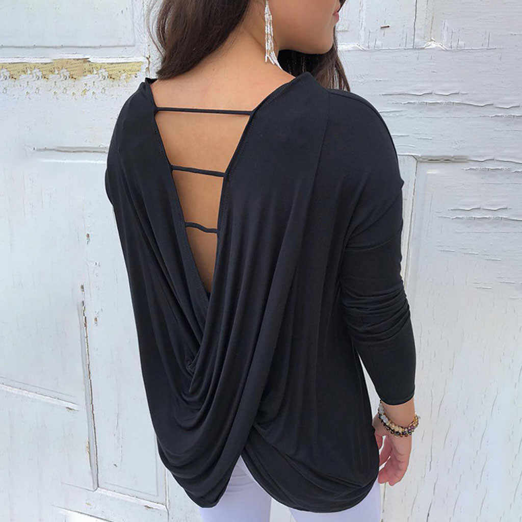 Vrouwen Casual Backless Blouse O Hals Lange Mouwen Losse Tops En Blouse Dames Tops Lente Herfst Open Back Shirt Blusas # Z25