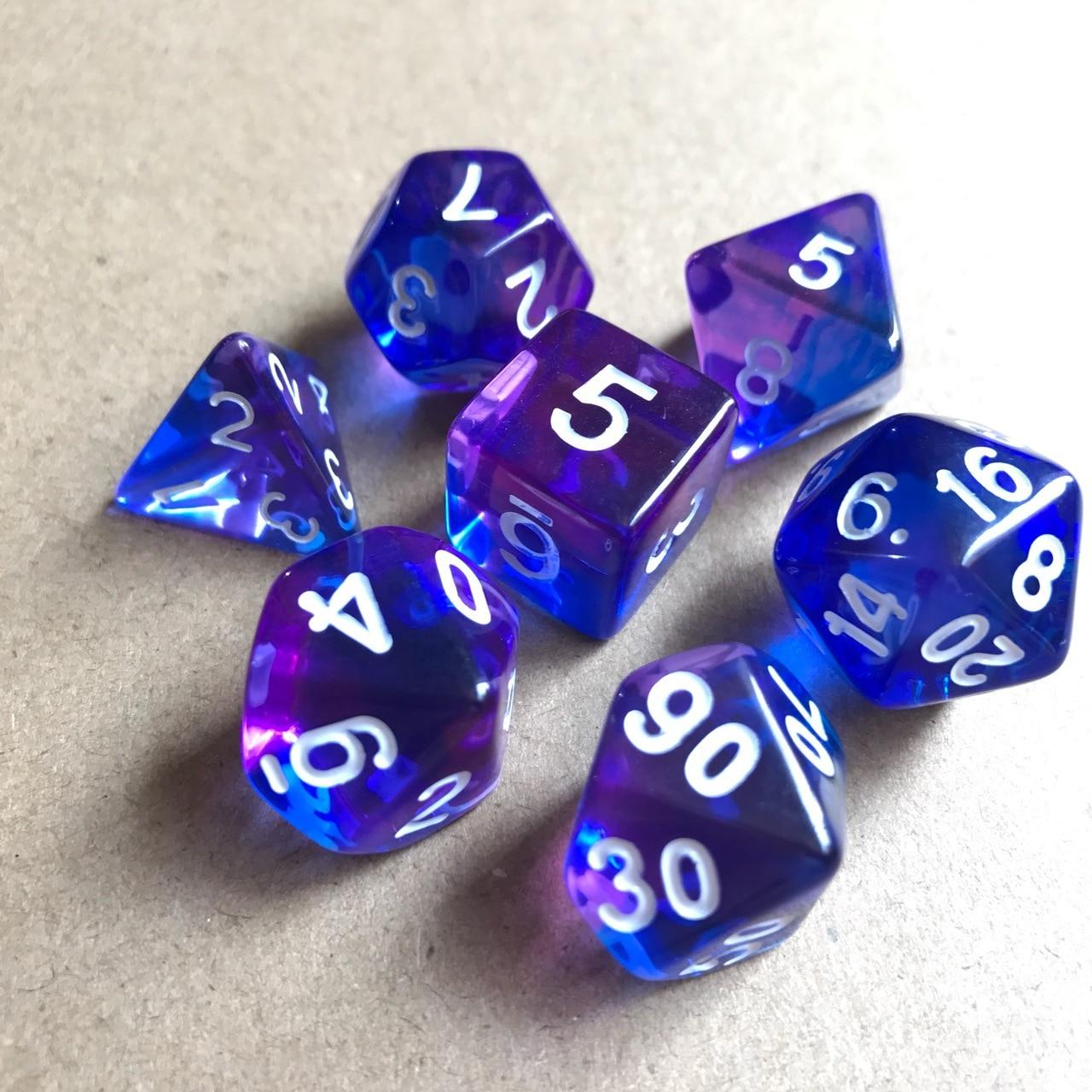 7pcs/set Transparent Resin Polyhedral Dice D4 D6 D8 D10 D12 D20 For Board Game Entertainment Dice