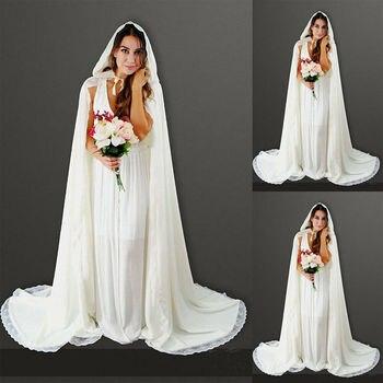 Bridal Wedding Party Hooded Cloak Cape Shawl White Ivory Long Jacket Lace Edge In Stock