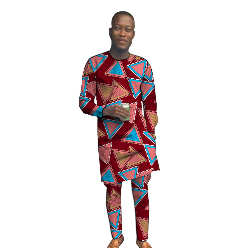 African Clothing Men's Print Long Sleeve Tops With Trousers Custom Made Fashion Pant Sets Groom Suits Male Ankara Outfits