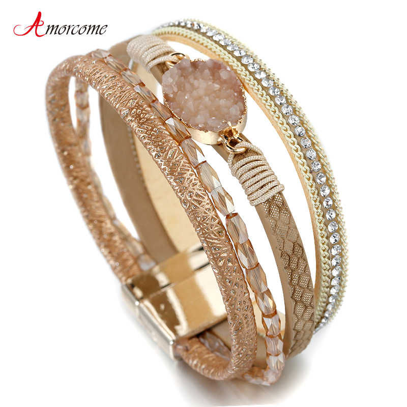 Amorcome Stone Charm Women Leather Bracelet Jewelry Ladies Fashion Crystal Multilayer Bohemian Wrap Wide Bracelets & Bangles