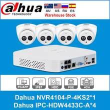 Сетевой видеорегистратор Dahua 4MP 4 + 2/4 безопасности Камера Системы 4MP IP Камера IPC-HDW4433C-A 8CH POE NVR4104-P-4KS2 наблюдения P2P Системы удаленного просмотра
