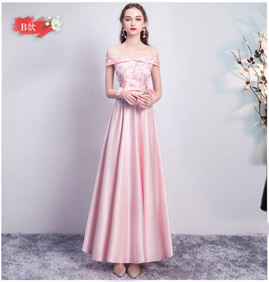Pink Gray Bridesmaids Dress Elegant Off The Shoulderfor Wedding Party Long Simple Dress Sitster Sexy Prom Champagne Club Vestido