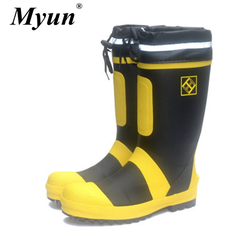 Men's Steel Toe Reflective Safety Rain Boots Male Slip-on Waterproof Boots Outdoor Fishing Hunting Knee-High Boots Botas Hombre