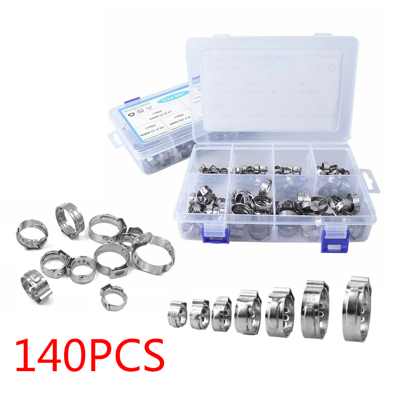 140 Clamps With Box Long Term Use Will Not Rust Corrosion Resistance 7 21mm Single Ear Stelpess Hose Clamps Assorted Kit in Clamps from Home Improvement