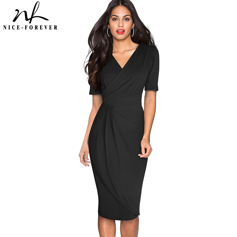 Nice-forever Elegant Pure Color With Button Office Work Vestidos Business Party Slim Bodycon Women Pencil Dress B583