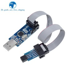 1 conjunto usbasp usbisp avr programador usb atmega8 atmega128 attiny/can/pwm 10pin fio módulo diy + 10pin para 6 pinos adaptador placa