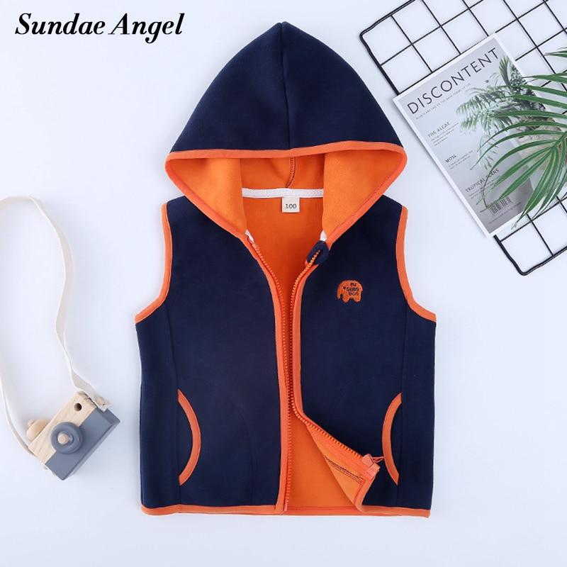 Sundae Angel Polar Fleece Vest Girl Autumn Hooded Animal Waistcoats For Boys High Quality Kids Gilet Fille Children Vests 2-8 Y 1
