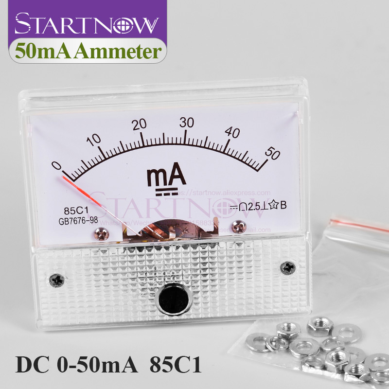 85C1 DC Analog Amperemeter 0-50mA Pointer Current Voltage Meter Gauge AMP Milliammeter Panel For CO2 Laser Tube Power Supply