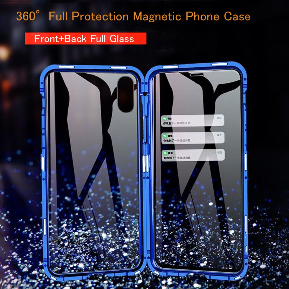 360 Full Protection Magnetic Case For OnePlus Nord 8 7 Pro For OnePlus 7T pro 6 6T Metal frame Bumper Double Glass Phone Cases