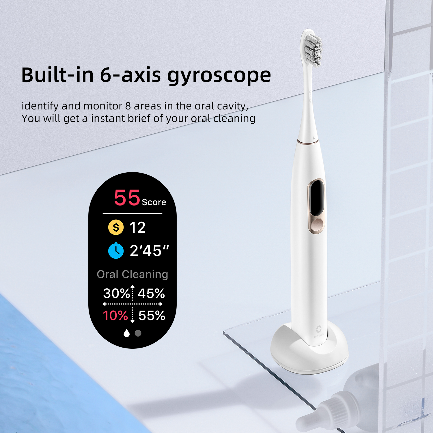 Oclean X Sonic Toothbrush water resistant bluetooth smart LED display