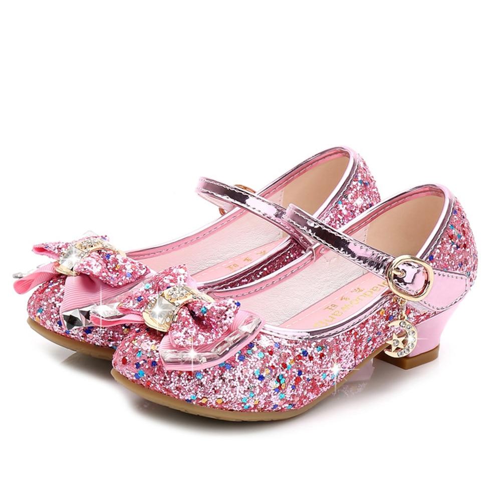 2021 Children Shoes Girls High Heel Princess Dance Sandals Girls Party Dress Wedding Shoes Kids Shoes Glitter Leather 26-38code