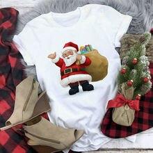 Женская рождественская Футболка с принтом Санта Клауса и оленей