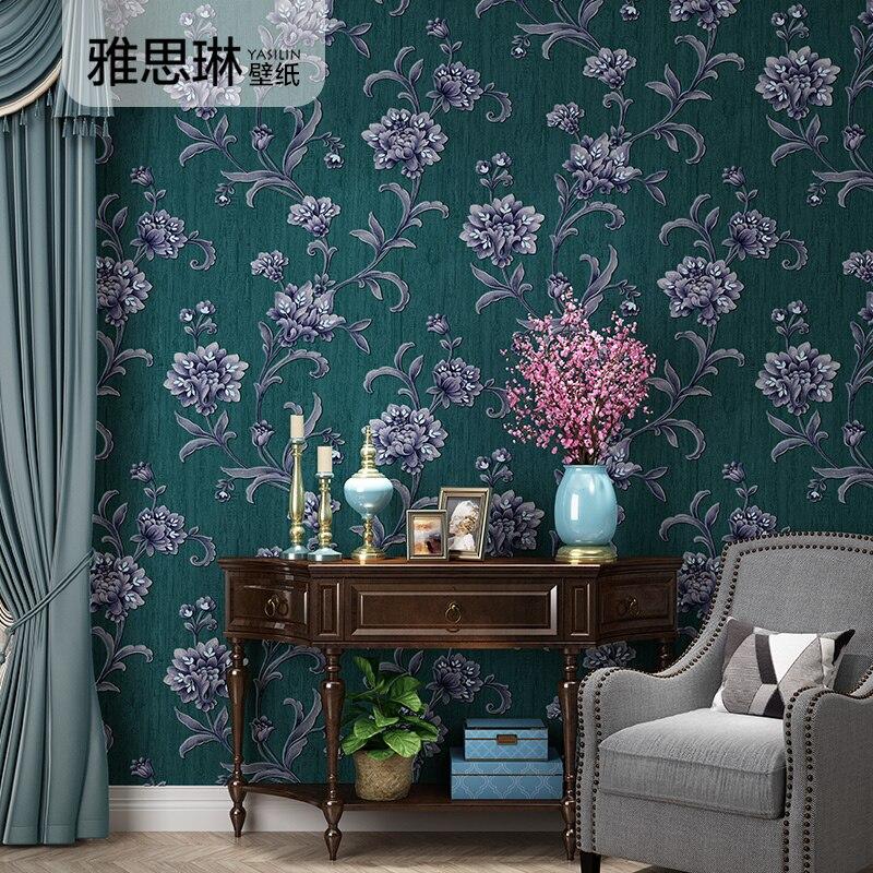 Bonne qualité européenne TV dos papier peint salon chambre de luxe Jane Europe 3D pastorale grande fleur américaine papier peint