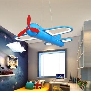 Image 3 - الحديثة led الثريات ضوء طائرة الأزرق الأصفر أضواء للأطفال غرفة الاطفال طفل الفتيان الإضاءة مصباح نجف المنزل