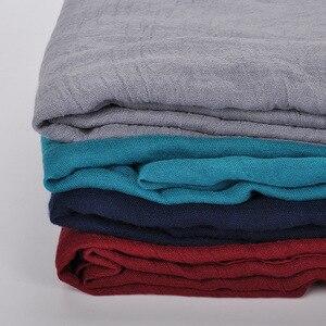 Image 5 - נשים מוצק צבע כותנה צעיף רך פשתן צעיף וכורכת סוכריות בצבע נשי צעיף מוסלמי ראש צעיפי חיג אב גלימות