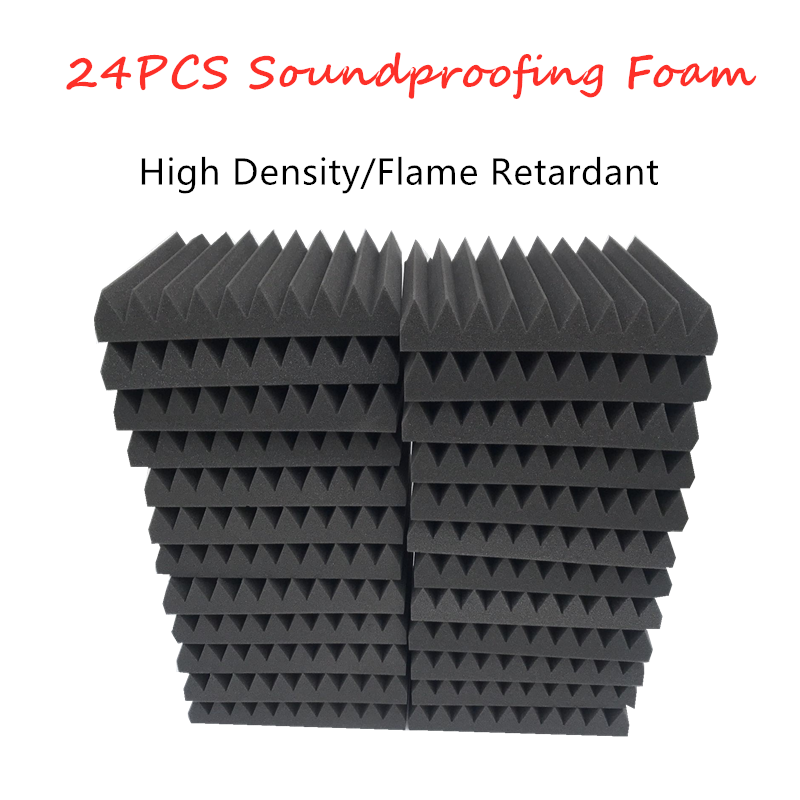 24pcs 2 X 12 X 12inch  Flame Retardant Soundproofing Foam Acoustic Foam Sound Treatment Studio Room Absorption Wedge