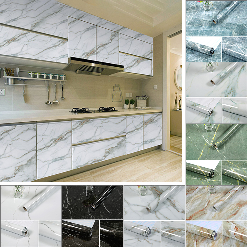 3M/5M/10M Marble Pattern Kitchen Stove Waterproof Sticker PVC Self Adhesive Wallpaper Bathroom Waterproof Wallpaper Home Decor