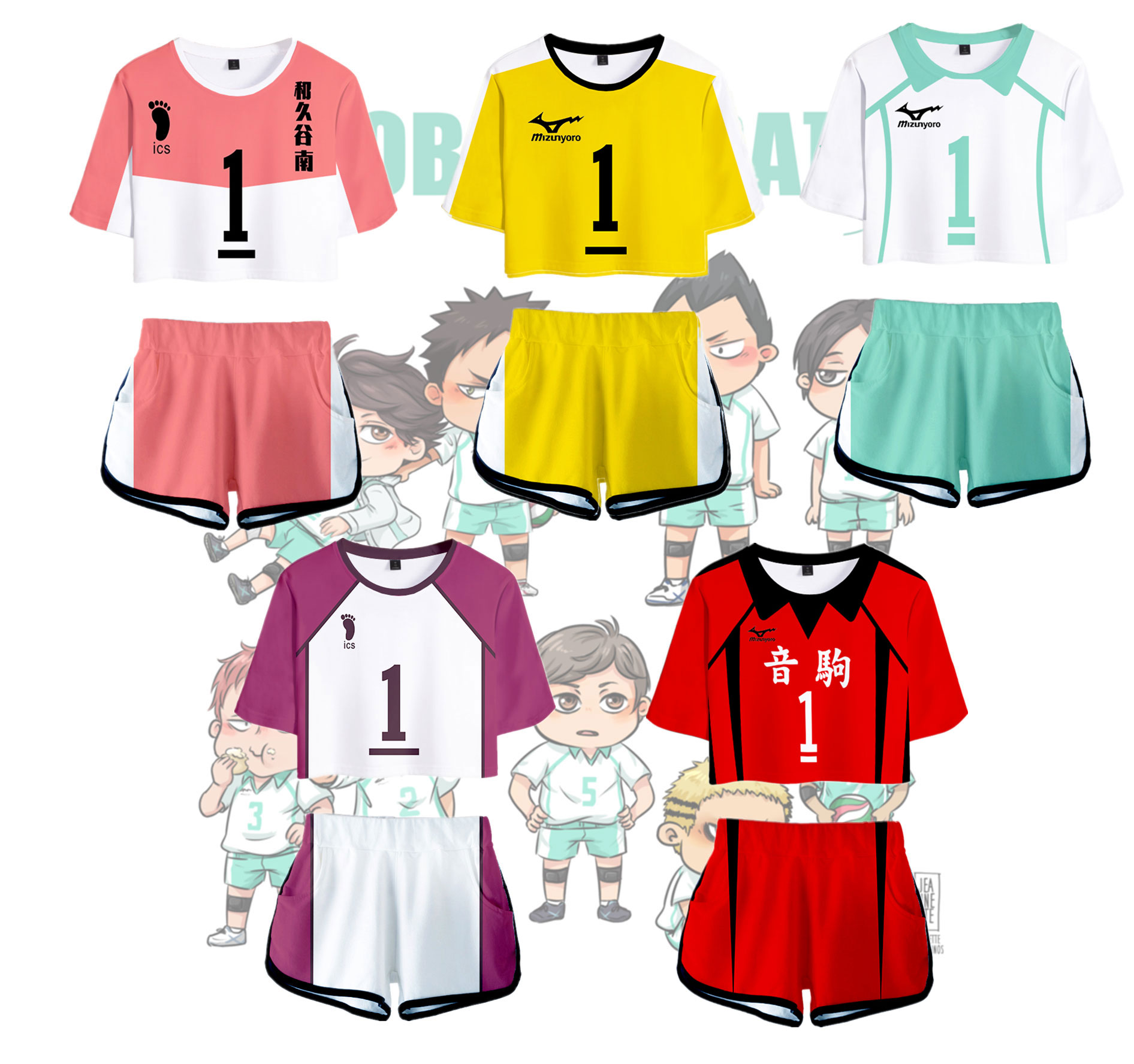 Fashion Style 3D Outwear Harajuku Streetwear Two Piece Sets Haikyuu!! To The Top Cosplay Summer Women Short Pullover Hip Hop
