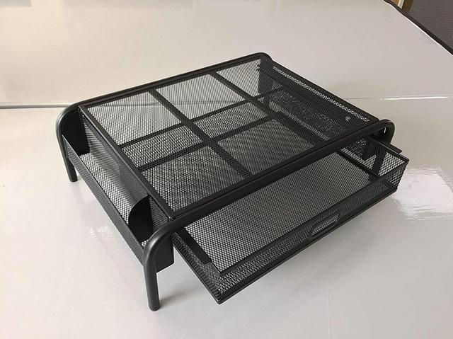 Metal Mesh Laptop/Monitor Riser Holder Lapdesk Desktop Organizer with Pull Out Drawer and Side Storage for Laptop, iMac