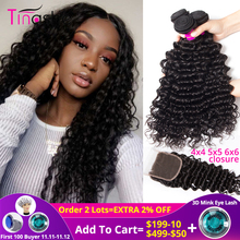 Tinashe Deep-Wave-Bundles Closure Human-Hair Brazilian Weave with 5x5 6x6 Lace And Remy