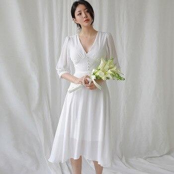 BGW HT32813 White Chiffon A Line Cocktail Dresses Three Quarter Sleeves Tea Length Robe Cocktail Longue Sirène 2020