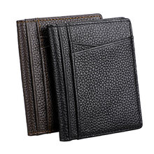 Genuine Leather Mini Credit Card Wallet Purse Super Slim Soft Wallet Male Card Holders Men Wallet Thin Small Cards Holder Wallet(China)