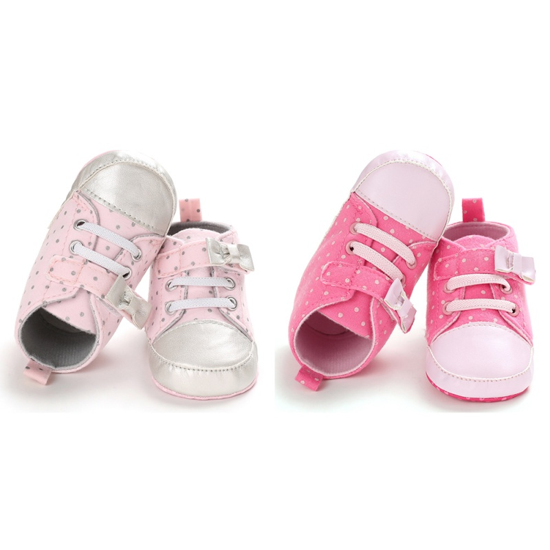 Cute Autumn Baby Girl Polka Dot Print Anti-Slip Casual Sneakers Toddler Soft Soled Walking Shoes 0-18M Pink Rose Red NEW Hot L