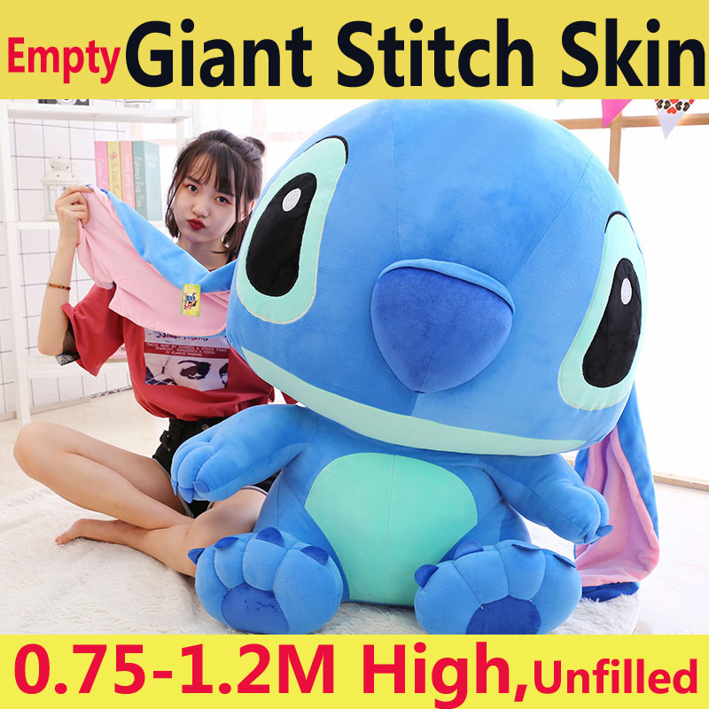 75-120 Cm Giant Plush Large No Filling Soft Toy Lilo Stitch No Stuffed Empty Skin Bed Unfilled Big Children Doll Birthday Gift