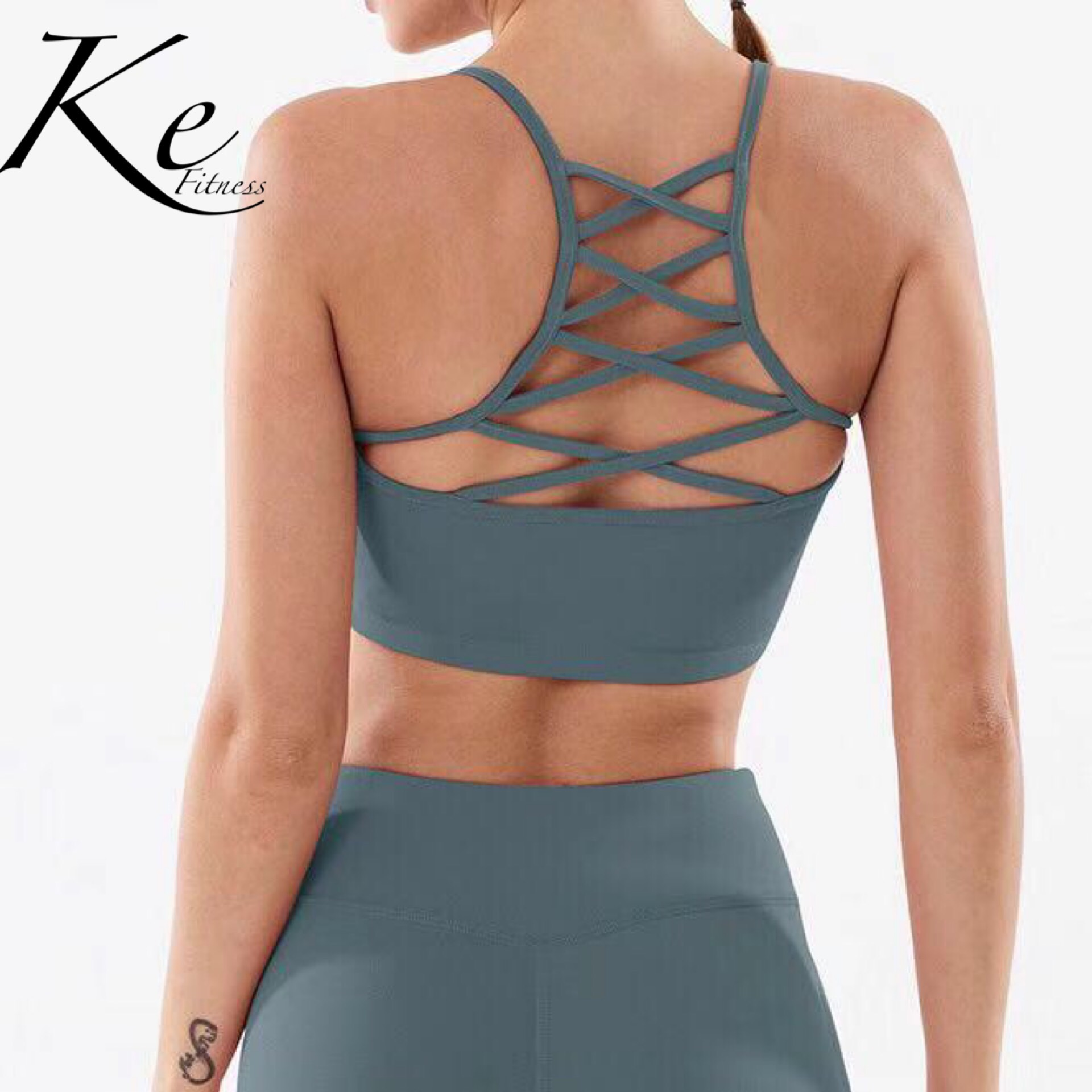 Suit Sports-Fitness-Bra Female Yoga Underwear Shoulder-Strap Backless Net Red Big KE