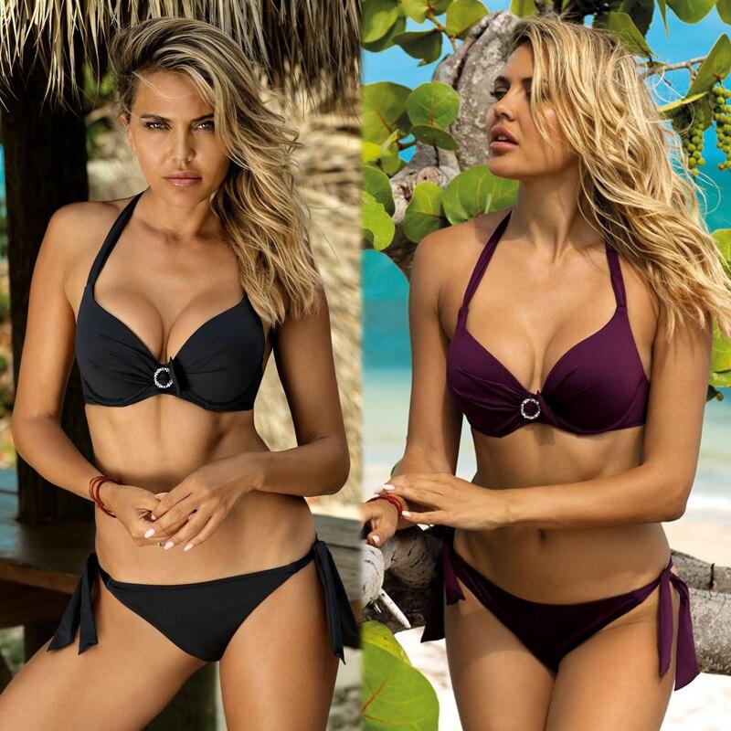 Сексуальный пуш-ап бикини Купальники Для женщин 2021 размера плюс, бикини, набор, купальник, Одноцветный купальник, бразильский Юбка-брюки для...