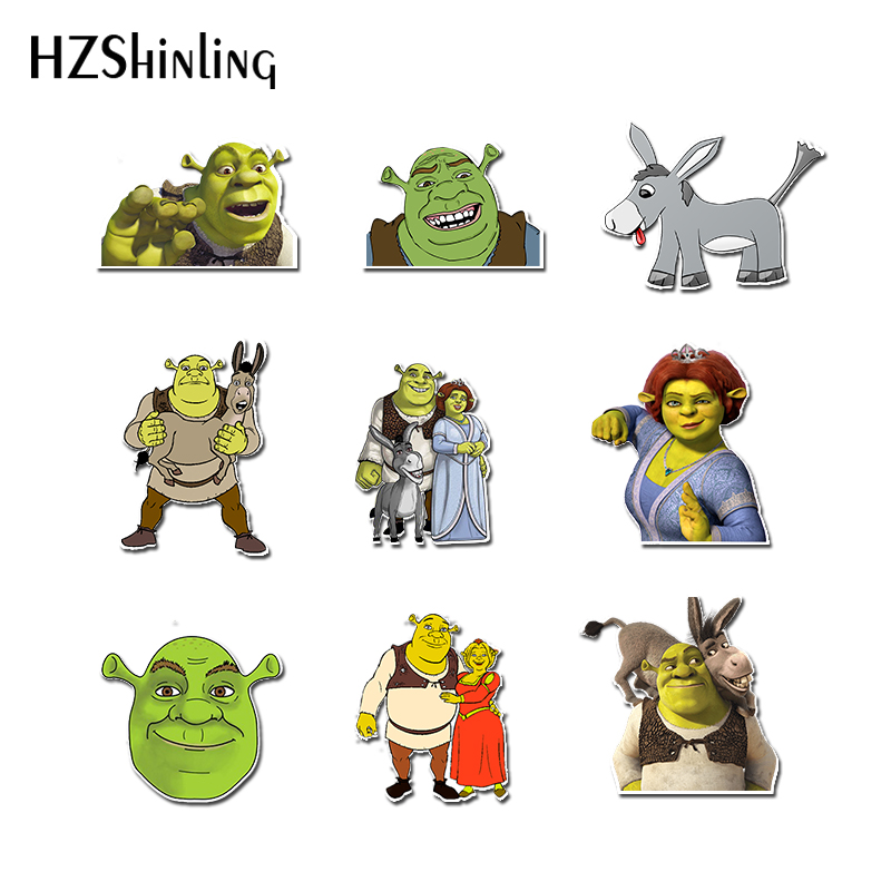 2019 Acrylic Brooches Shrinky Dinks Badge Green Shrek Donkey Resin Epoxy Shrinky Dinks Brooches Pins Backpack Badge Gifts