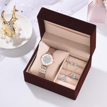 럭셔리 로즈 골드 시계 여성 세트 럭셔리 크리스탈 귀걸이 목걸이 시계 세트 2019 여성용 쿼츠 시계 선물 용품