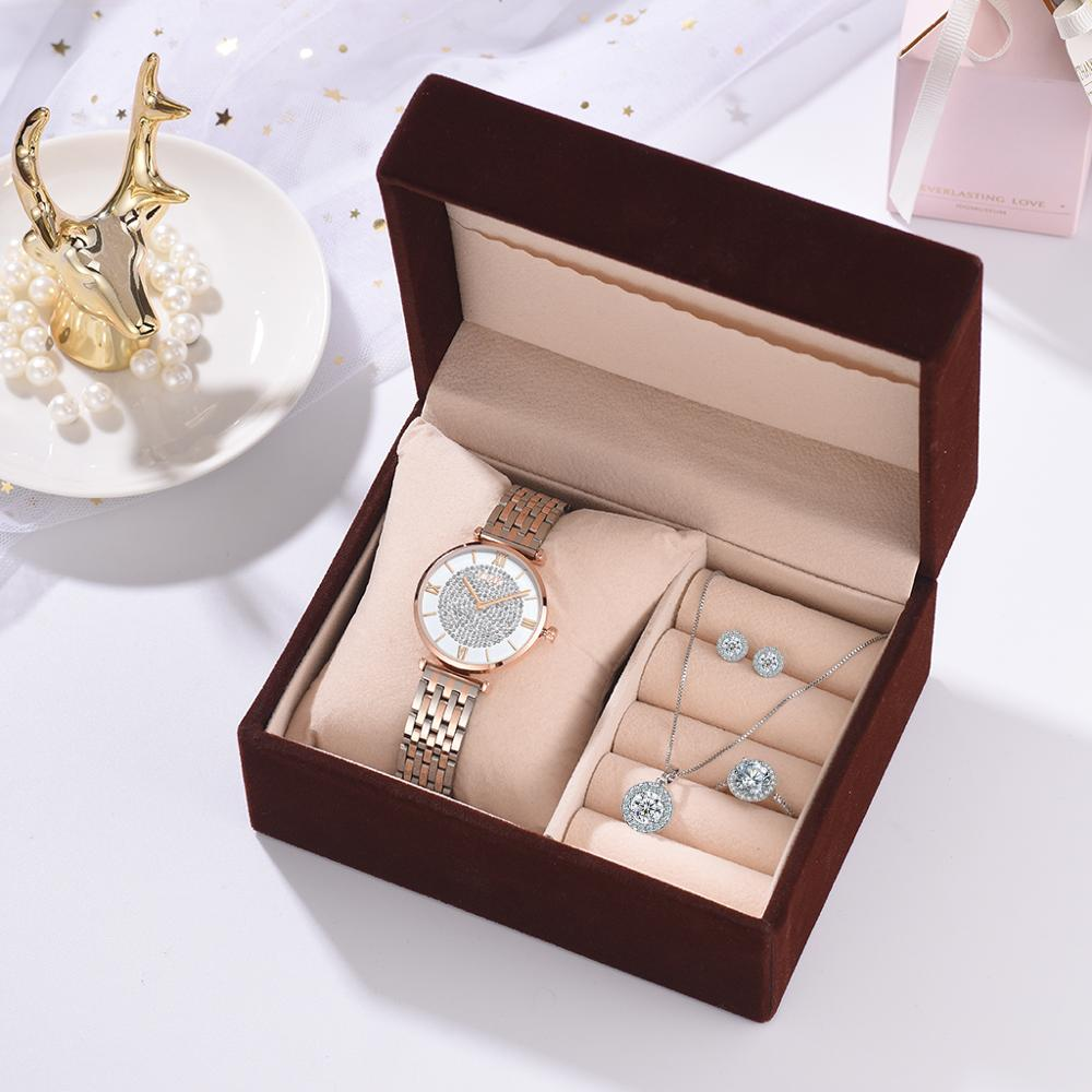 Luxury Rose Gold Watches Women Set Luxury Crystal Earrings Necklace Watches Set 2019 Ladies Quartz Watch Gifts For Women