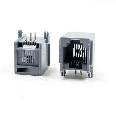 Işıklar ve Aydınlatma'ten Konnektörler'de 15 adet 4 Pin RJ12 6P6C Bilgisayar İnternet Ağ PCB jak soketi Gri title=