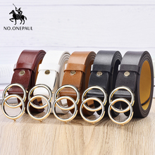 Leatherhigh belt alloy double ring circle buckle PU27